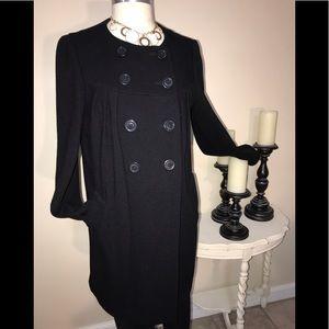 Banana Republic Blk Wool Blend Dress Coat Sz Med